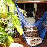 Royal Blue Sitting Hammock, Hanging Chair Natural Cotton and Wood