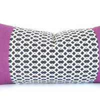 Holiday Sale 10% Off  - Modern Black and Purple Pillow, Lumbar Pillow, 14 by 28 Inch Purple Pillow