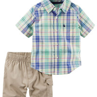 2-Piece Plaid Button-Front & Cargo Short Set