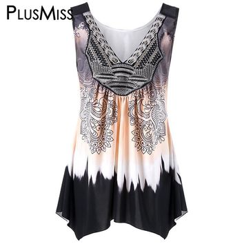 Plus Size 5xl Ombre Tie Dye Print Tank Top Women Clothing Vintage Ethnic Peplum Tops Sleeveless Vest Cami Camisole Oversize