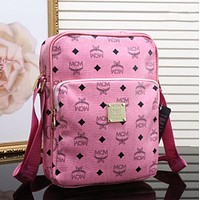 """MCM"" Stylish Ladies Men Briefcase Logo Letter Print Zipper Single Shoulder Messenger Bag Pink I"