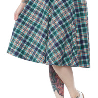 STEADY LEONA PLAID POCKET THRILLS SKIRT NVY/GRN
