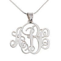 Monogram Necklace Sterling Silver Personalized Name Necklace Without Frame