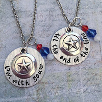 ORIGINAL DESIGN - I'm With You Til The End Of The Line Best Friends Necklaces - Superhero Jewelry - Fandom Jewelry -Fangirl Jewelry - Comics