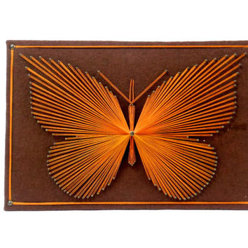 Butterfly String Art Wall Hanging Plaque Vintage Picture
