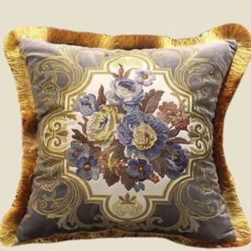 """Gray Blue Float Flower Pillow Embellished With Trim 20""""X20"""""""