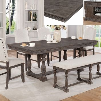 Crown Mark 2270T 6 pc Regent rustic grey finish wood trestle base dining table set with bench