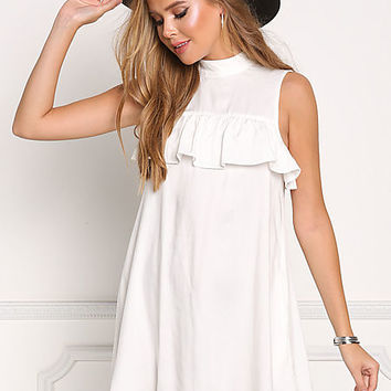 White Ruffle Pocket Shift Dress