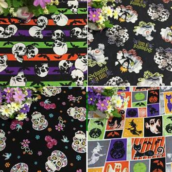 Vintage Brand Skull Ghost Printed Cotton Fabric For DIY Sewing Bedding Clothing Quilting Dressing