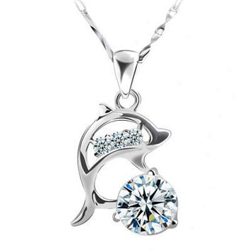 DALI Latest Trendy Dolphin Pendant Necklace with AAA Cubic Zircon 925 Silver Necklace PN44