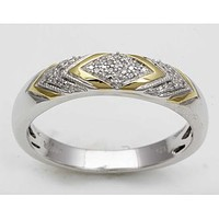 Eternal Treasures Sterling Silver Diamond Accent Mens Two Tone Eternity Band - Jewelry - Rings