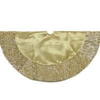 "20"" Gold Satin Mini Christmas Tree Skirt with Metallic Trim"