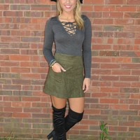 Long Sleeve Charcoal Top with Lace-Up Neckline