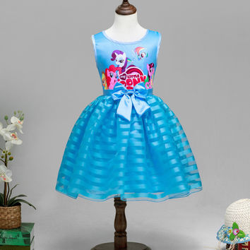 cartoon dress girl summer Fashion My Little Pony Dresses Princess Party Costume Children Clothes Summer Sleeveless  Clothing