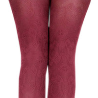 Wine Red Hosiery Pantyhose Tattoo Legging Tights