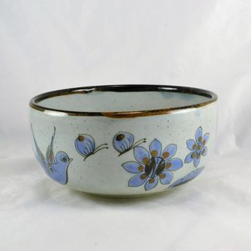 El Palomar Serving Bowl Ken Edwards Tonala Mexico Stoneware Blue Pattern Flowers Birds Bugs Southwestern Home Vegetable Fruit Table