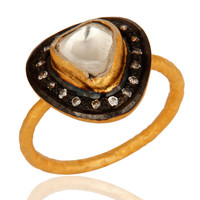 18K Gold Plated Sterling Silver CZ Crystal Polki Victorian Design Stack Ring