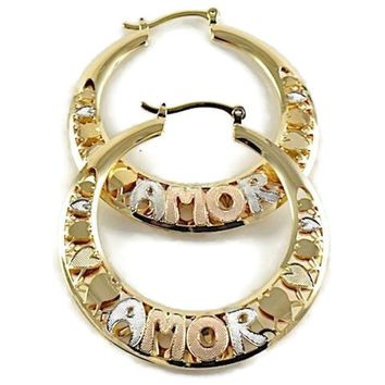 Amor Filigree 50Cm  18Kts of Gold Plated Earrings Hoops