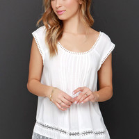 Tender Embrace Ivory Lace Top
