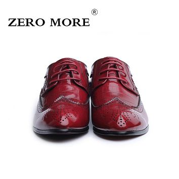 ZERO MORE Original Brand Men Brogue Shoes High Quality Crocodile Pattern PU Leather Oxford Shoes for Men Shoes Plus Size 37-48