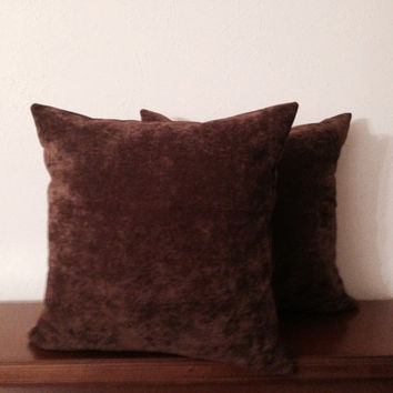 Decorative-Accent-Throw - Pillow Cover-Free US Shipping- Set of Two 18 inch Antique Chocolate Brown Velvet