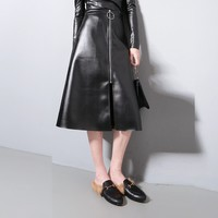 2016 Autumn Women Long High-Waist Solid Zipper PU Leather Skirt Black