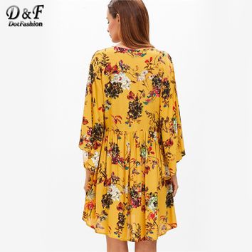 Lace Up Boho Dress Women Yellow Floral V Neck Bell Sleeve Beach Summer Dresses 2017 Long Sleeve Vintage Casual Dress