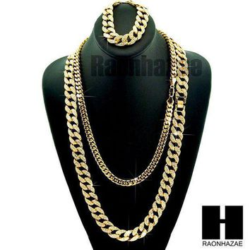 Gold Iced Out Lab Diamond Necklace 15mm 30' 24' Miami Cuban Link Chain Bracelet