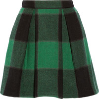 SEA - Buffalo plaid stretch-wool mini skirt