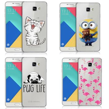 Super Cute Minions Cat Soft Silicone TPU Phone Case Cover for Samsung Galaxy S5 S6 S7 Edge S8 Plus A3 A5 A7 2017 J3  J5 J7 2016