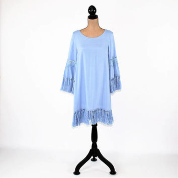 Light Blue Dress Women Bohemian Hippie Boho Dress Midi Bell Sleeve Dress with Fringe Rayon Periwinkle Womens Dresses New Womens Clothing