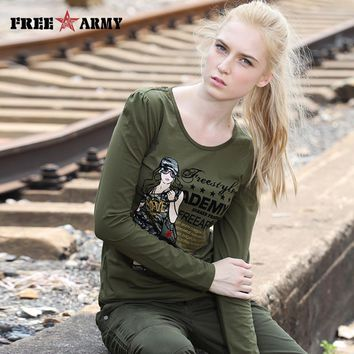 Women Tops And Tees Long Sleeve Flocking Print T Shirts Women Camouflage Fashion Graphic Tees Army Green Feminine