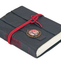 Black Leather Wrap Journal with Retro Key Cameo Bookmark  - Ready To Ship