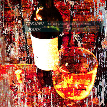 Wall art wine print, kitchen artwork, winery, dining room wall picture, wine glass an bottle, still life, home decor, unique wine lover gift