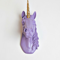 Purple Unicorn Head with Gold Glitter