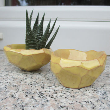 Set of 2 Tiny Faceted Ceramic Succulent Planters,Yellow,Tiny Planter,Desk top Planter,Air Plant Pot,Geometric,Cactus Pot,Mini Planter