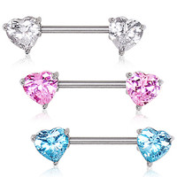 316L Surgical Steel Prong Set Heart CZ Nipple Bar