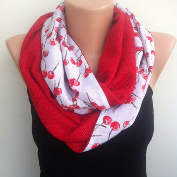 Red Cherry Scarf, Women's Scarf, Red Loop Scarf, Cherry Scarf, Red Scarf, Red Infinity Scarf, Cherry Patterned Loop Scarf, Cherries, Cherry