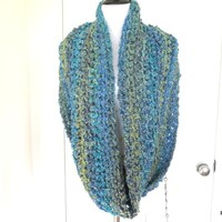 Thick Blue Cowl, Ultra Thick and Long Loop Scarf, Gift for Her