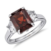 Garnet and White Topaz Radiant Cut Ring in Sterling Silver