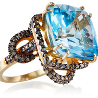 Blue Topaz & Diamond Vintage Look Ring, Stone & Novelty Rings