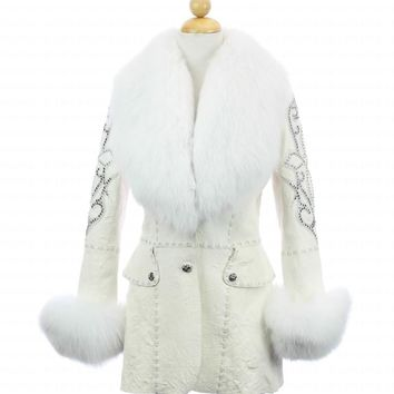 Beautiful Italian White Lamb Leather, Swarovsky Crystals, White Fox Fur Jacket  CL34 F