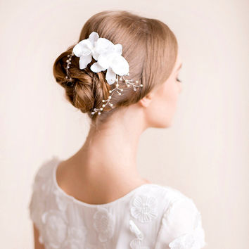 Wedding Head Piece with Orchids - Bridal Headpiece - Wedding Headpiece - Flower Headpiece - Bridal Hair Accessories