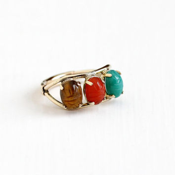 Vintage 12k Yellow Gold Filled Scarab Ring - Size 7 Adjustable Tiger's Eye Carnelian Carved Beetle Gem Egyptian Revival Burt Cassell Jewelry