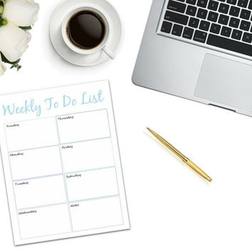 Weekly To Do List/Checklist Printable | PDF | printable to do list | shopping list | weekly checklist | work tool | work organizer