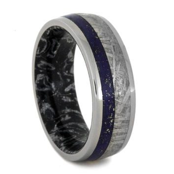 Lapis Lazuli Ring, Meteorite Wedding Band With Black and White Mokume Gane Sleeve, Mens Meteorite Ring