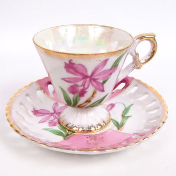 Vintage Pink Iris Teacup and Saucer Japan Demitasse Iridescent Lusterware Brushed Gold Trim Reticulated Saucer Footed Tea Cup