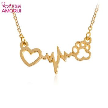 AMORUI Love Pet Footprints Choker Necklace Heartbeat Gold/Silver Color Fashion Stainless Steel Necklaces Pendants Jewelry Gift