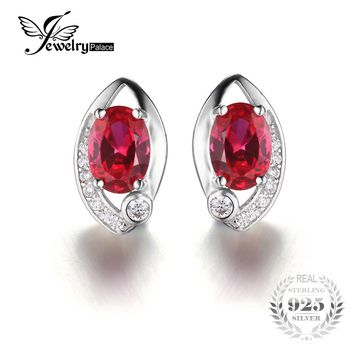 JewelryPalace Eye 2.3ct Created Red Ruby Stud Earrings 925 Sterling Silver Vintage Charm Brand Fashion 2016 New Fine Jewelry