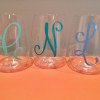 Personlaized Monogram Stemless Wine Glass